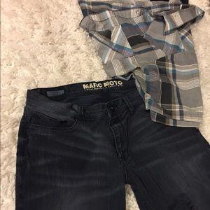 Andrew Marc Jeans - Distressed Marc Moto Skinny Piston Jeans 34x32